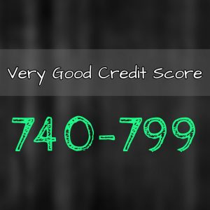 sign stating very good credit score 740-799